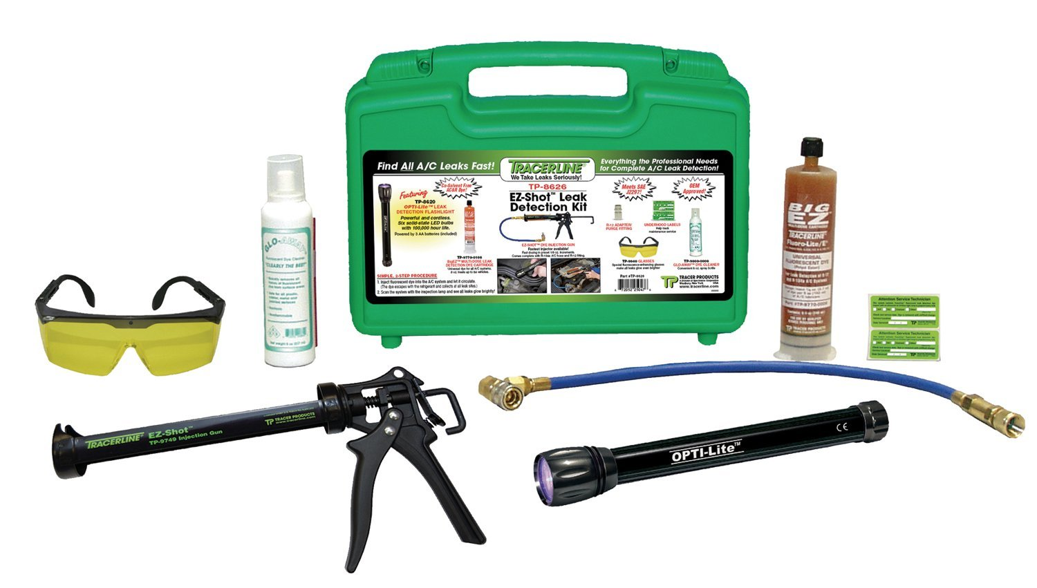 Spectronics Corp/Tracer TP8626 Ez-Shot Air Conditioner Leak Detection Kit with OPTI-Lite LED Flashlight 39472