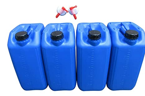hogred 6 x 25 litre jerry can water carrier home camping stackable approved 70 mm neck anti glug ecovent