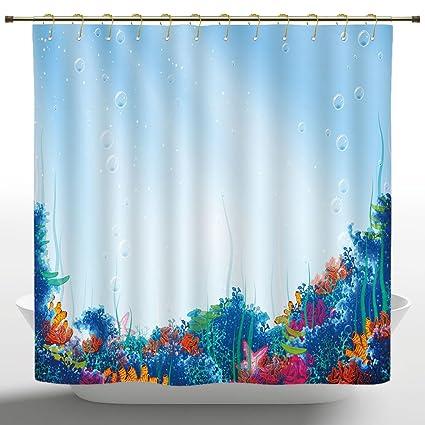 Cool Shower Curtain By IPrintUnderwaterMarine Coral Reef Aquatic Scene Starfish Ocean Sea
