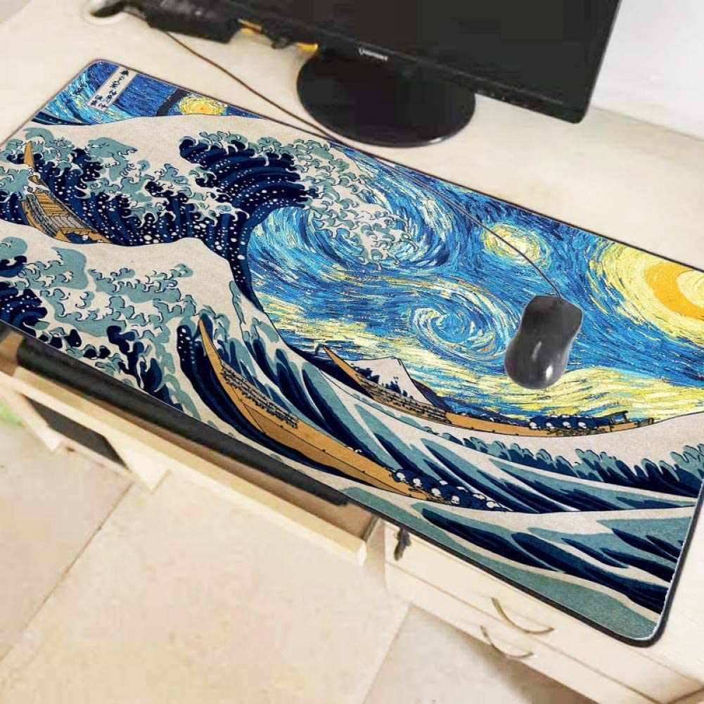 IXNSZ Mouse Pad Great Wave Mouse Pad Large Thicken Lock Edge Rubber Big Gaming Gamer Soft Mousepad