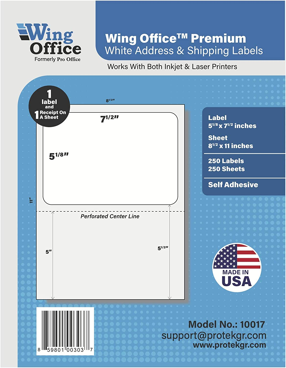 Pro Office Shipping Labels for Printers - Premium 250 Self Adhesive Labels with Receipt - Laser and Ink Jet Printers, White, Made in USA, 5.125 x 7.5 Inches, Pack of 250