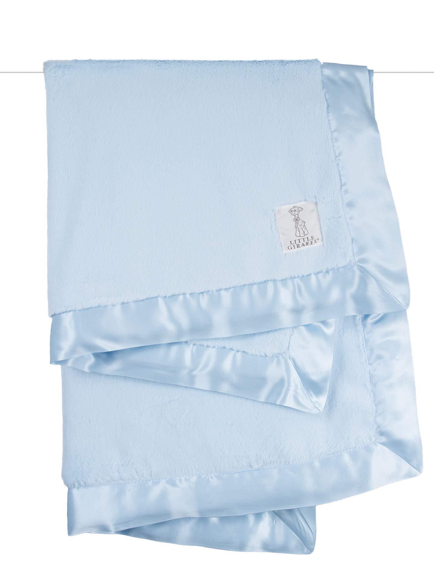Little Giraffe Luxe Stroller Baby Blanket, Blue, 29'' x 35''