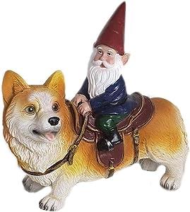 Bitcircuit Garden Gnome Ornament, Funny Guy Mugs Garden Gnome Statue - Gnome Riding a Corgi, Resin Naughty Garden Gnome Sculpture for Patio, Yard or Lawn
