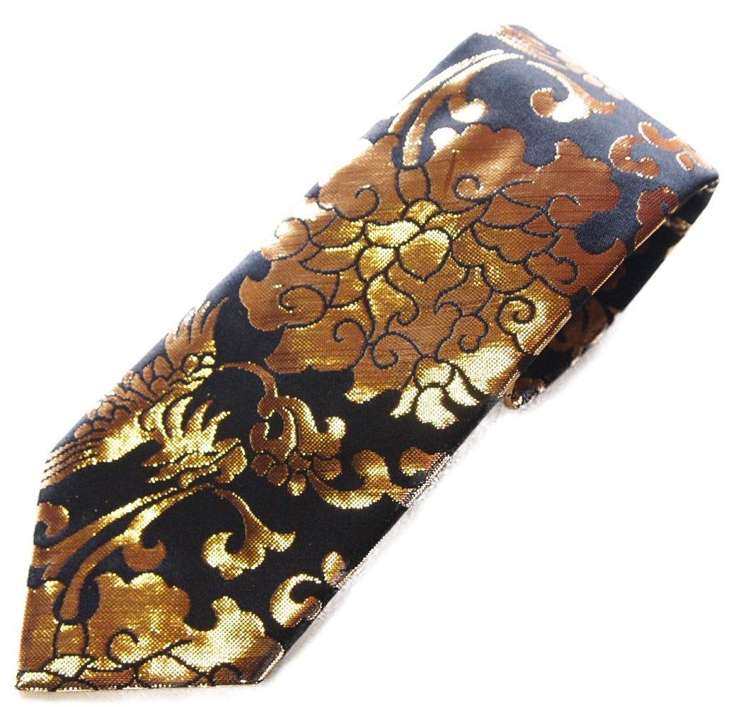 Hand Made Men's Japanese Neck Tie Pattern Luxury Kimono Brocade Silk (Embroidery Gold 24K Tie Black)