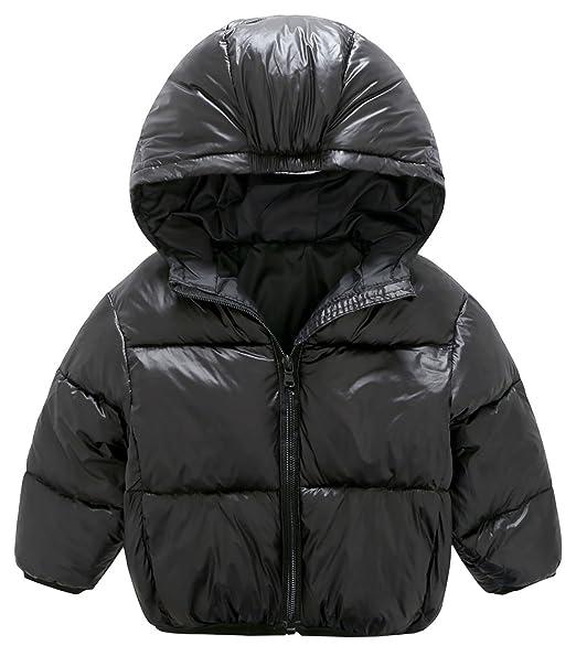 0dfe58ddf Mengxiaoya Toddler Winter Coat Hoodie Down Coat Lightweight Down Jacket  Packable Black 2T-3T