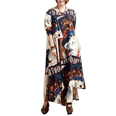 DIOUY Fashion cotton linen vintage print women casual long loose autumn dress vestidos femininos party dresses