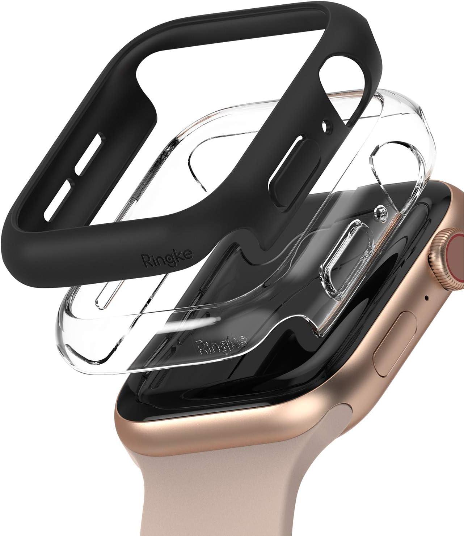 2 fundas Apple Watch Series 4/5/6/SE 44mm Negro/Transparente