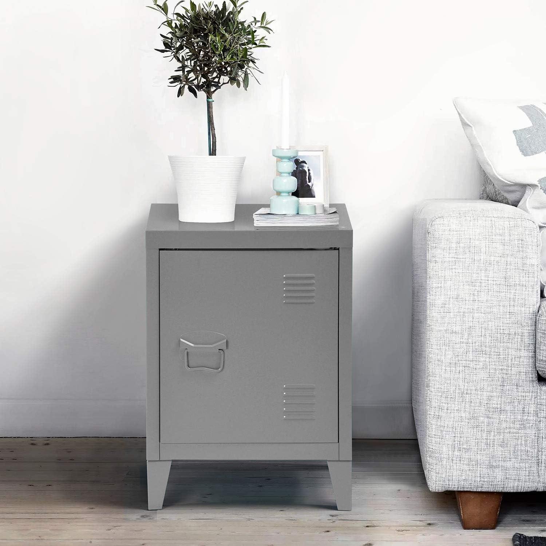 Side Storage Organizer Cabinet for Home Office Study Bedroom Living Room 57.5 x 40.5 x 30.5 cm Dark Grey Homybec Small Metal 1-Door Free Standing 2 tier Shelves Cupboard