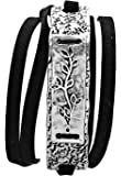 Leaf Vine Suede Strap Wrap Bracelet Black and Silver Color