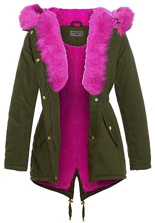 SS7 - Abrigo - Parka - para niña Verde Khaki Pink