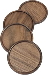 Wood Coasters for Drinks, 4 PCS Walnut Wooden Drink Coasters, Absorbent Heat Resistant Reusable Desk Coaster Tray for Home Office Table & Furniture Protection