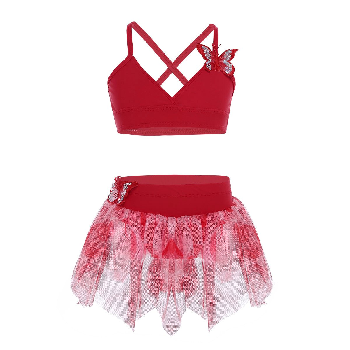 CHICTRY Kids Girls 2-Piece Butterfly Applique Tutu Skirt Top Set for Gymnastics Ballet Dancing Swimming