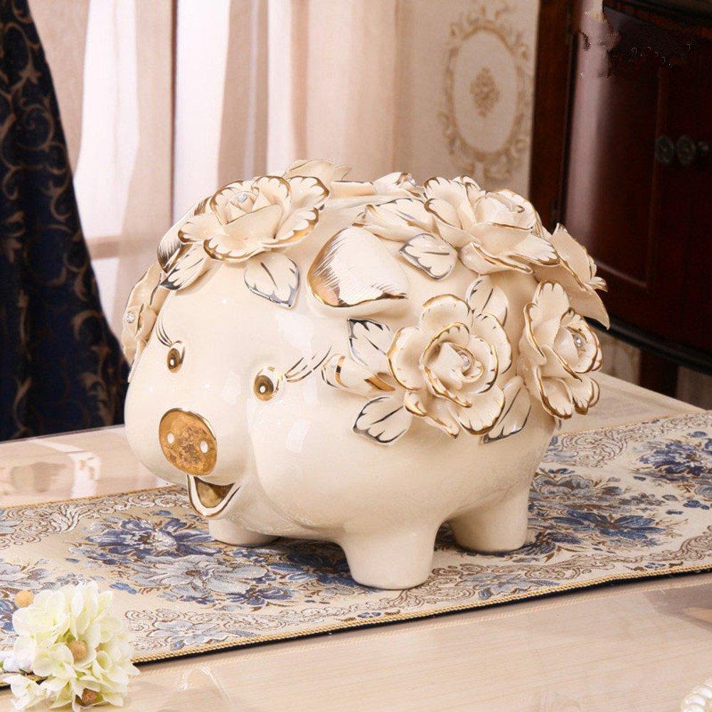 Piggy bank ceramic deposit pot adult creative piggy bank coin cute animal child deposit pot-A 27x27x24cm(11x11x9inch)