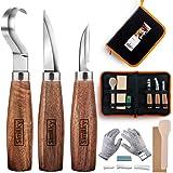 Conjunto de facas para entalhe 5 em 1, ferramentas para entalhe de madeira, inclui faca de gancho, faca de encanamento, faca
