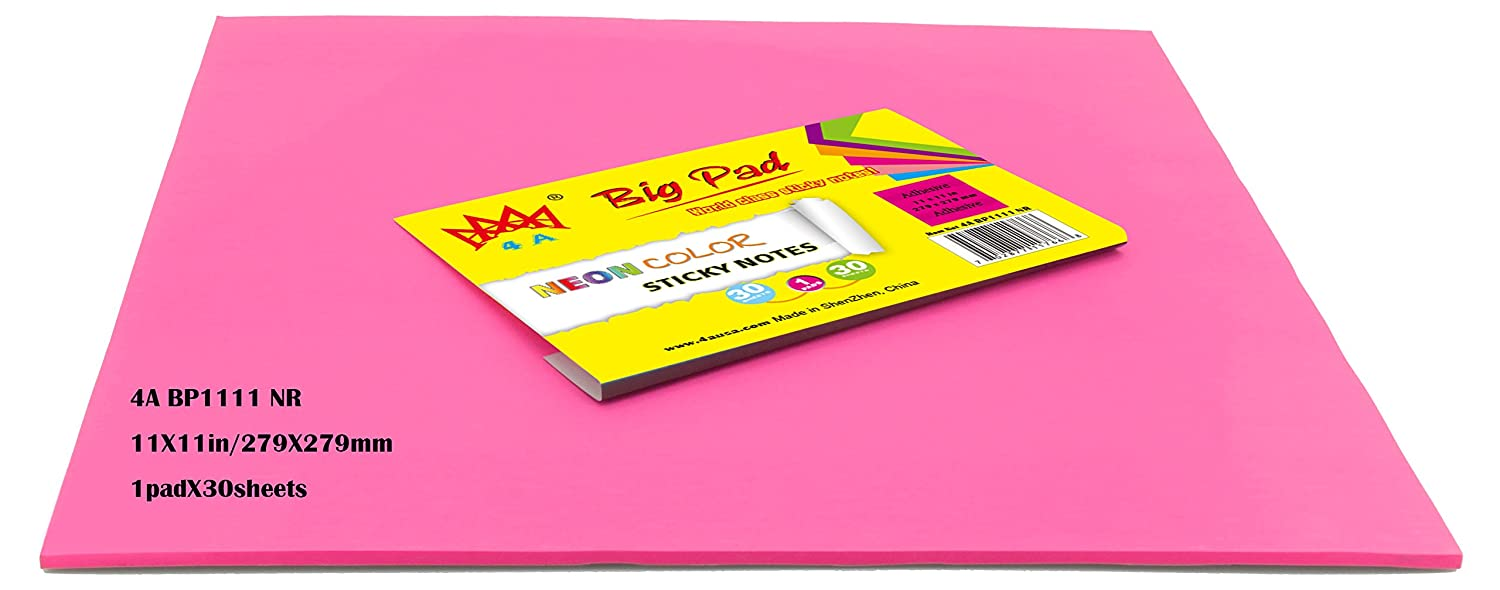 4A Big Pad Paper Sticky Notes,11 x 11, Neon Rose red, 30-Sheets/Pad, (4A BP1111 NR) 11 x 11