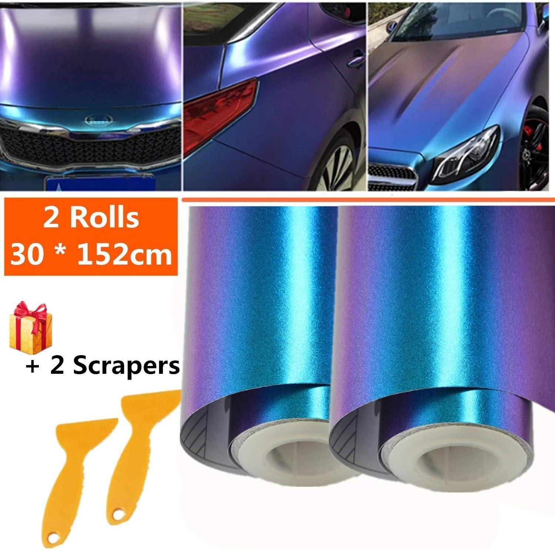 Mioke Lackschutzfolien Für Auto 2rolls 30 152cm Auto Folien Selbstklebend Flexibel Auto Shutz Chamäleon Folielila Zu Blau Die Farbe ändert Auto