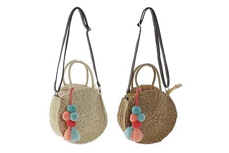 Bolso mujer bolsa playa mimbre paja pompones: Amazon.es ...