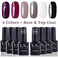 Vernis Gel Semi Permanent - Y&S UV LED Vernis à Ongles Gel Soak Off Débutant Kit 6 Couleurs Plus Top et Base Coat, 8ml Chaque Flacon, Lot Gradiant