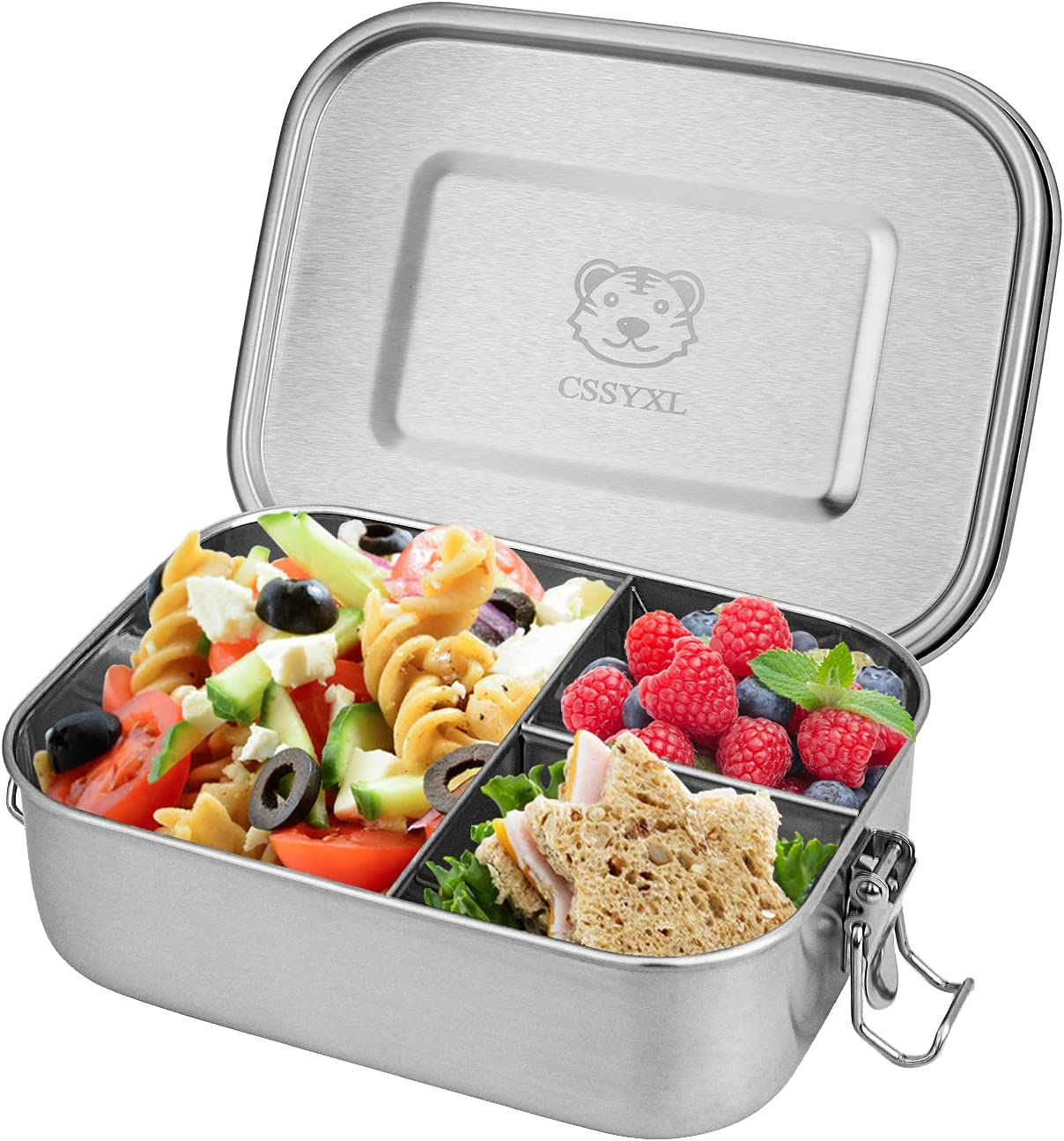 Stainless Steel Bento Lunch Box 800ML Food Storage Containers 3 compartment Fixed Divided Leakproof Tiffin Lunch Container for Kids Adults with Clip Locks Metal Snack Container-Stainless Lid