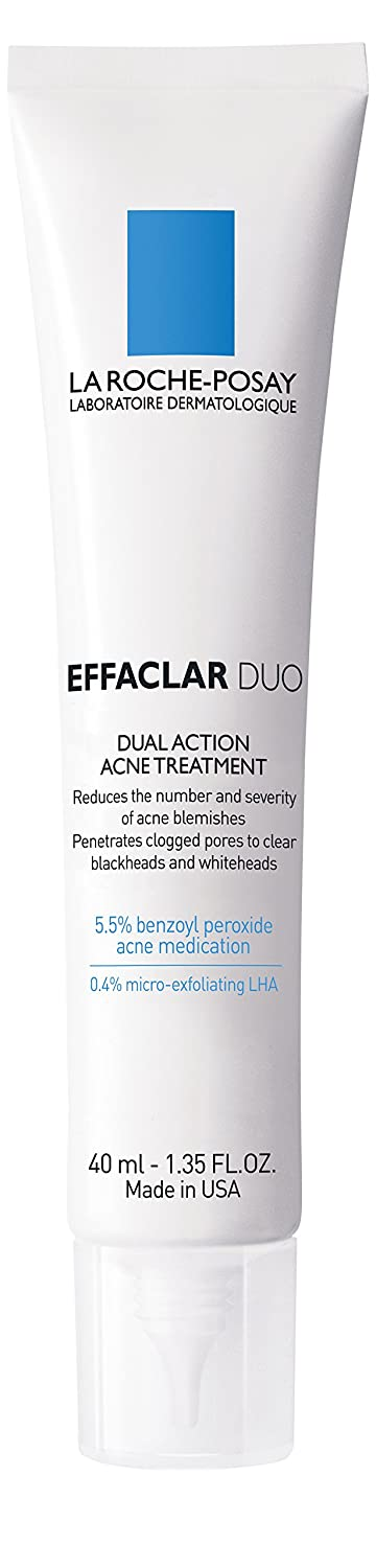 La Roche-Posay Effaclar Duo Dual Action Acne Treatment Cream with Benzoyl Peroxide, Oil-Free, 1.35 Fl. Oz.