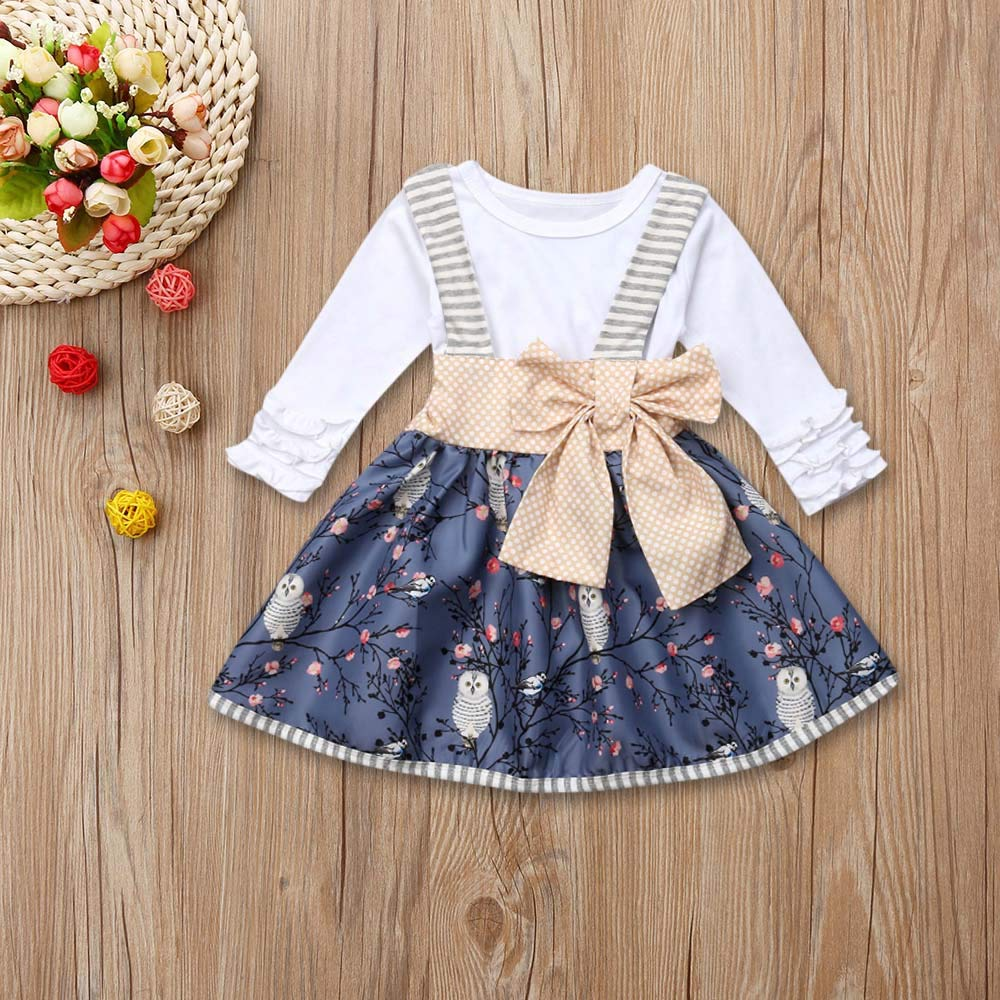 8056b2691f56 Amazon.com: Little Girl Skirt Sets,Jchen(TM) Toddler Kids Baby Girl Long  Sleeve Tops Floral Bow Dress Princess Outfits for 0-5 Y: Clothing