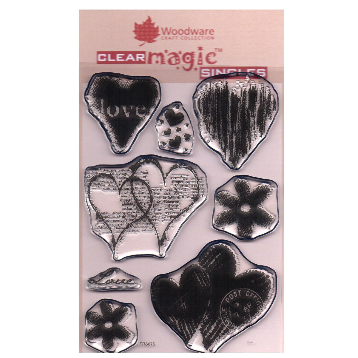 Woodware A6 Clear Cling Stamps - FRS675 Heart Collection by WoodWare