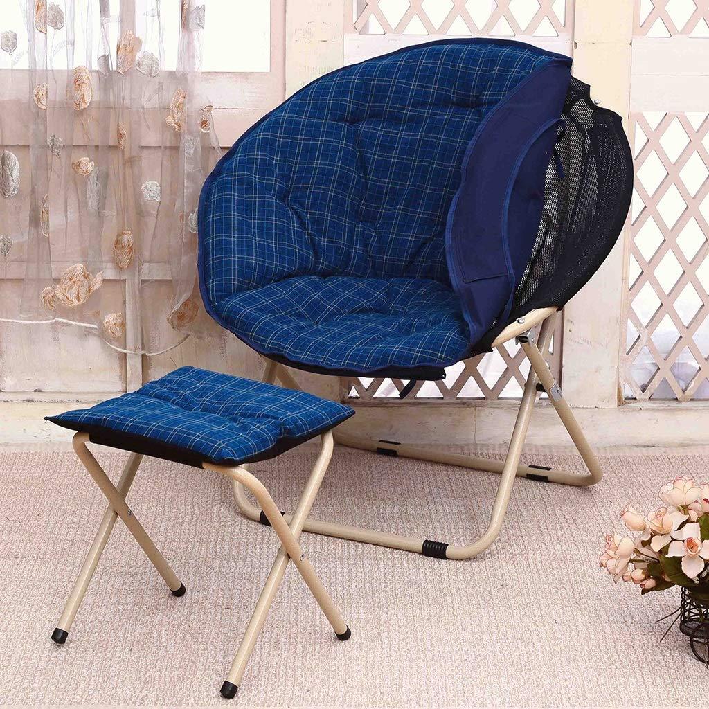 Zcxbhd Sling Chair Mond Falten Sonnenliege Faul Salon Rückenlehne Sofa zum Haushalt draussen Camping (Farbe   braun) Blau+stool