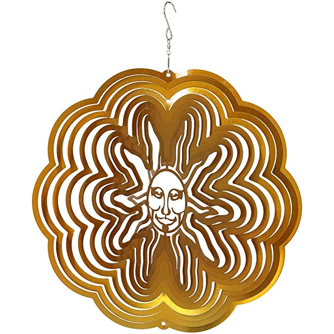 Sunnydaze Decor Reflective 3D Gold Sun Whirligig Wind Spinner, 12-Inch