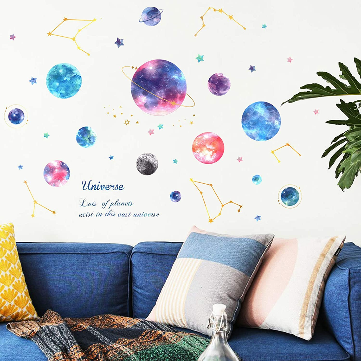Planets in The Space Kids Wall Stickers Watercolor Space Planet Star Constellation Wall Decals, DILIBRA Peel and Stick Removable DIY Solar System Wall Stickers for Kids Nursery BedroomLiving Room