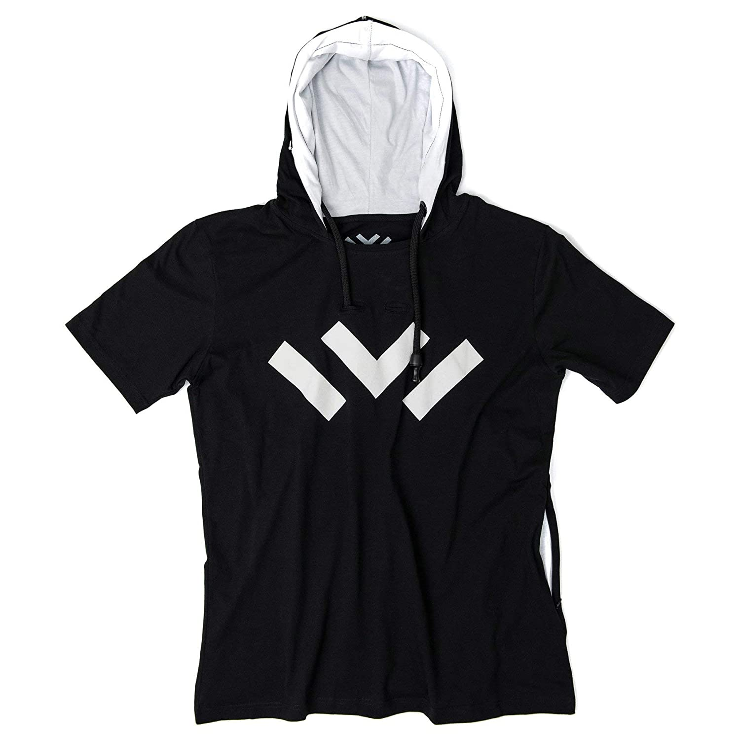 Black with Logo VAPRWEAR Lightweight Short-Sleeve Vape-Ready Hoodie
