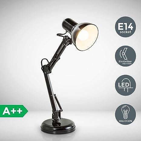 LED Lámpara escritorio arquitecto max. 40W 230V I Flexo escritorio I Brazo articulado giratorio I Vintage retro design negro