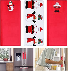 LUOEM 3PCS Christmas Snowman Kitchen Appliance Handle Covers Refrigerator Door Handle Covers Microwave Oven Dishwasher for Kitchen Appliance Decor