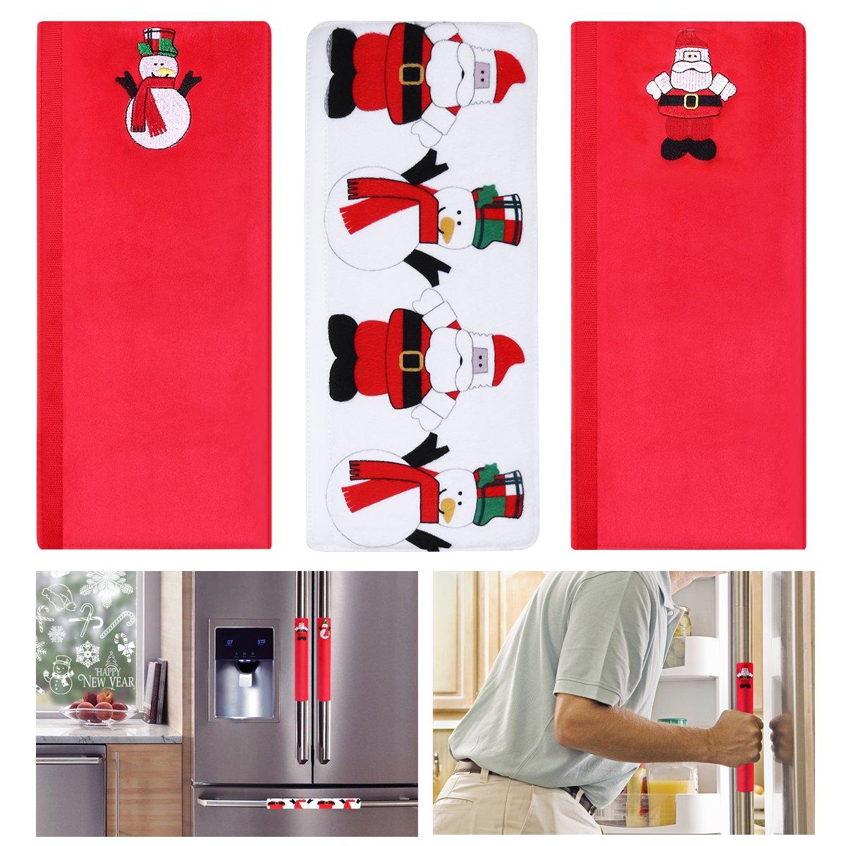 Tinksky Maniglie della porta della porta del frigorifero di Natale Forno a microonde Lavastoviglie Apparecchiature per la cucina Guanti protettivi Protezione del panno del pattino porta 3 pezzi