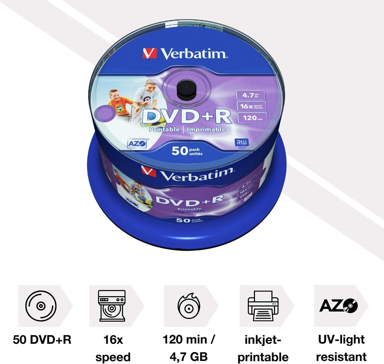 Verbatim Dvd R 4 7 Gb 16x Burn Speed And Printable Computers Accessories