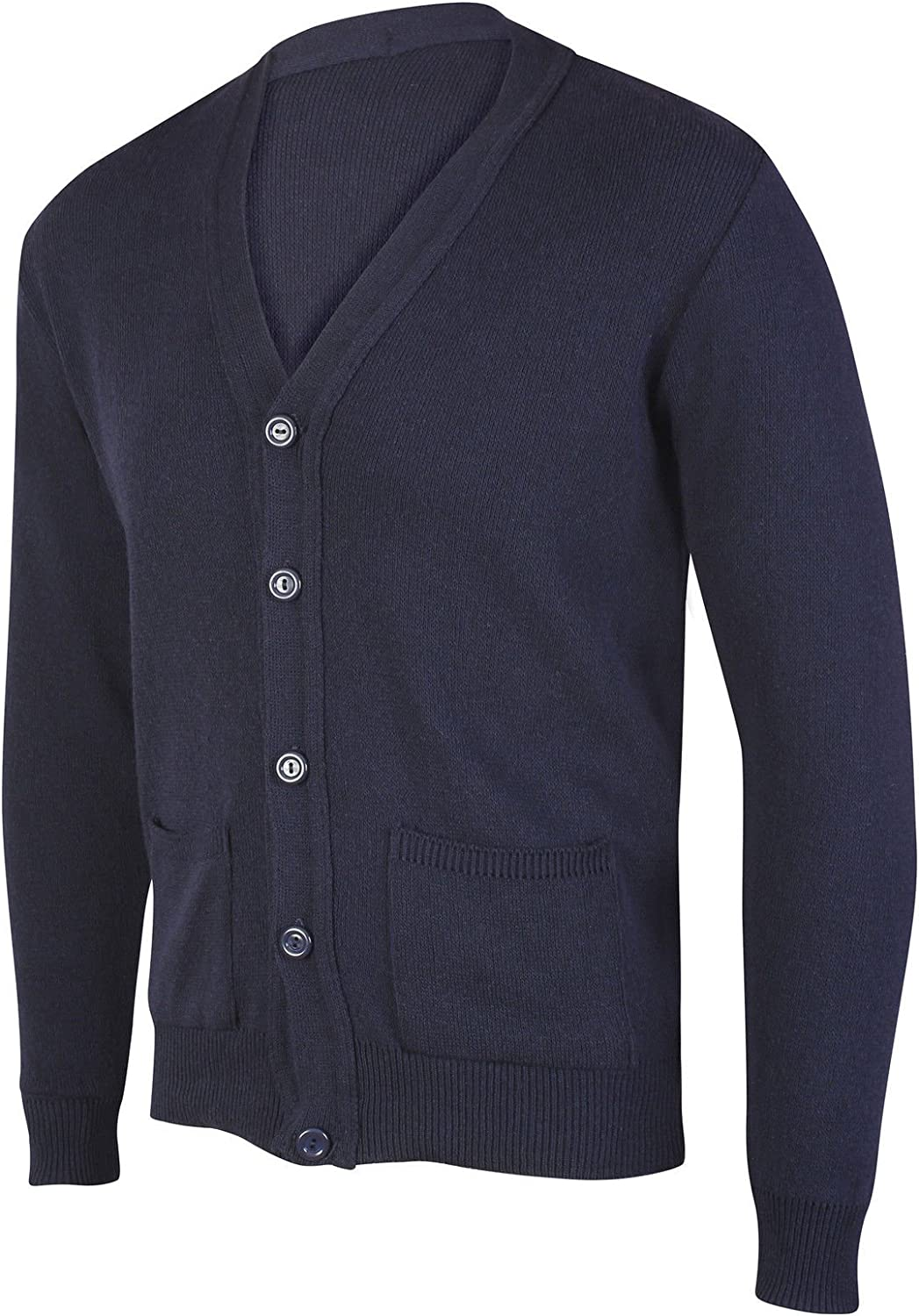 JBC Collection Mens Long Sleeve V Neck Button Front Cardigan Smart Casual Full Buttoned Cardi Jumper Plain Colour Black Navy Grey Beige