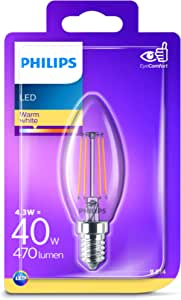 Philips LED Classic Candle Filament Warm White Light Bulb, Glass, Warm White, 4.3 W = 40 W, E14, (2700K), 470 lumens