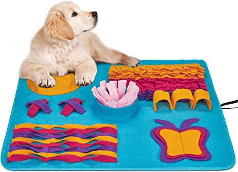 Distracting Training Natural Foraging Snuffling Nose Work Training for Dogs Stress Release Slow Eat Machine Washable Anti Slip Snuffle Mat for Dogs Small Large Pets