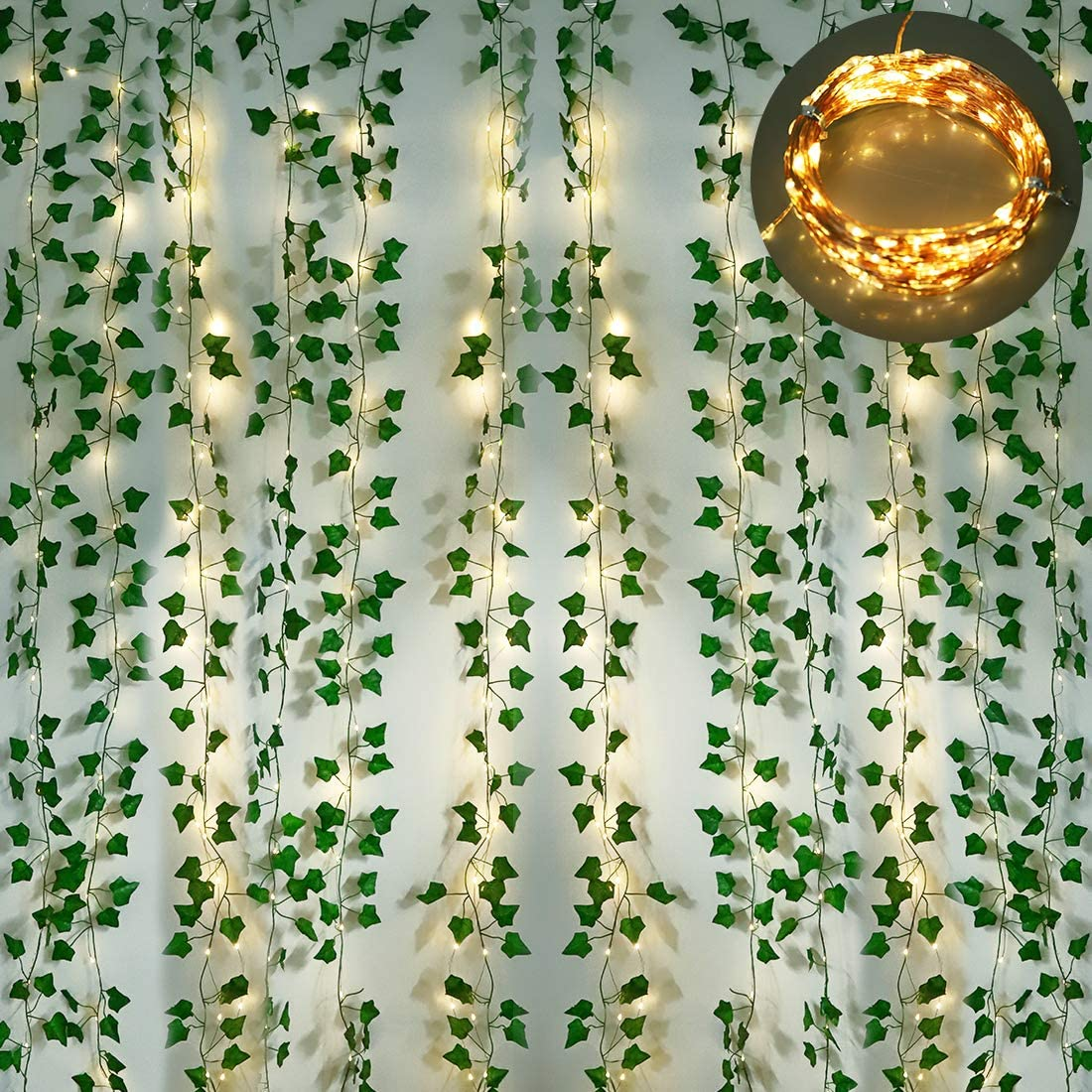 Onsucum 12 Strands Artificial Ivy Garland, Fake Vines Leaves Hanging Plants with 200 LED 64 Ft String Lights for Room Bedroom Kitchen Garden Office Wedding Wall Outdoor Decor, Green