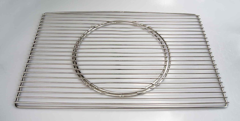 Edelstahl Grillrost 67 x 40 cm Expert + Ø 29 cm herausnehmbaren runden Grillrost nur 12 mm Stababstand, Stäbe Ø 4mm !!!, stabil