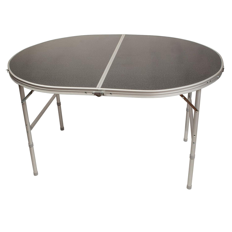 Ovaler Klapptisch aus Aluminium 120x90cm • Campingtisch Gartentisch Koffertisch Falttisch Tisch Bierzelttisch