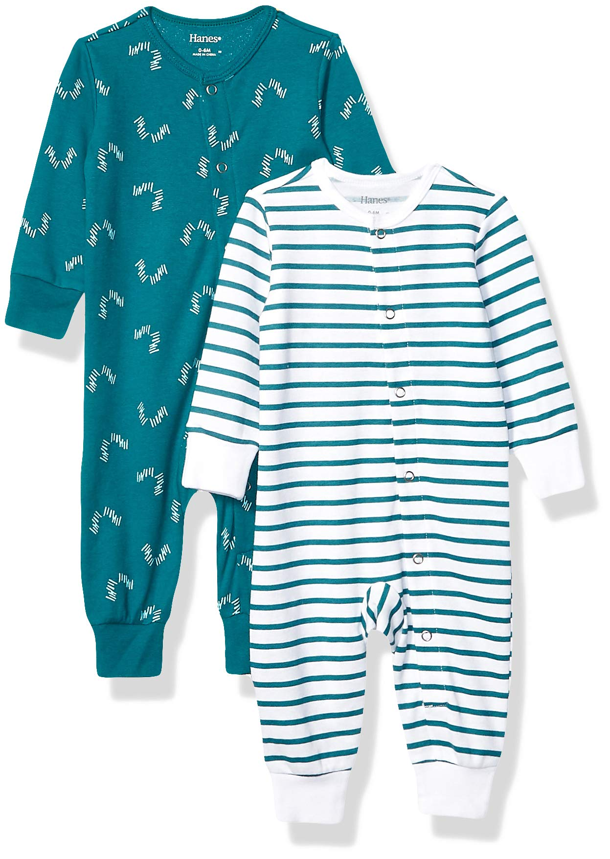 Hanes Ultimate Baby Flexy 2 Pack Sleep and Play Suits, Green Fun, 18-24 Months by Hanes