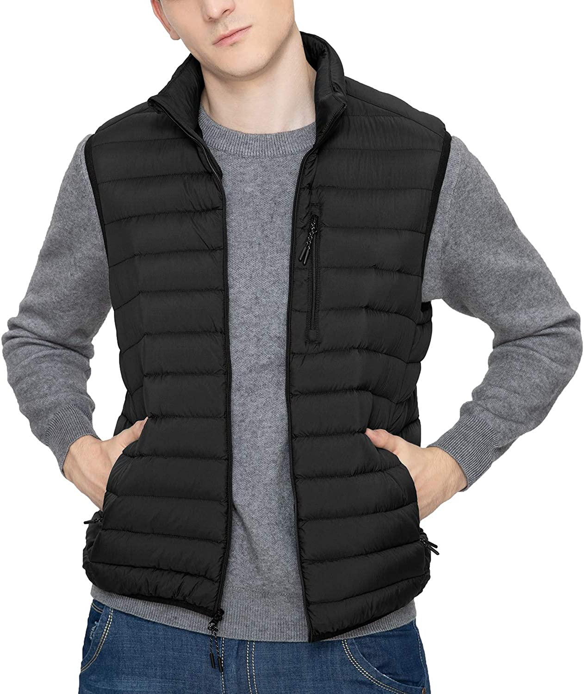 LAPASA Mens Lightweight Water-Resistant Puffer Vest REPREVE Packable Stand Collar M70