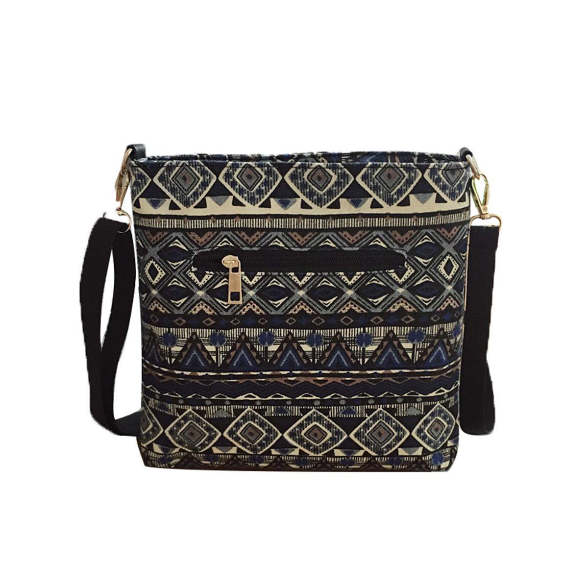 DaQao Vintage Etnico Borse Messenger Stampa Shopping Borse Spalla Pelle Viaggio Borsa a Tracolla Casual Donna Chest Bag