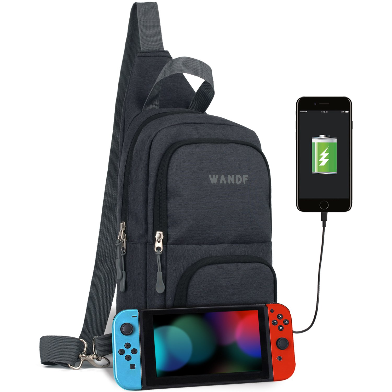 Victoriatourist WANDF Switch Travel Bag, for Nintendo Switch Console, Dock, Joy-Con Grip & Switch Accessories, Protective Storage Sling Backpack Shoulder Bag for Nintendo Switch and iPad (Black-new)