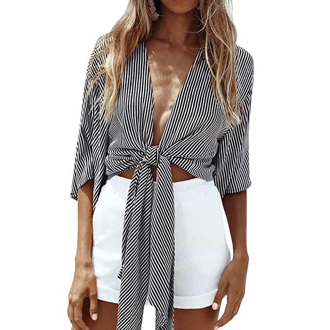 07987f3d2e079 Image Unavailable. Image not available for. Color  WLLW Women Half Sleeve Deep  V Neck Front Tie Striped Shirt Tops ...