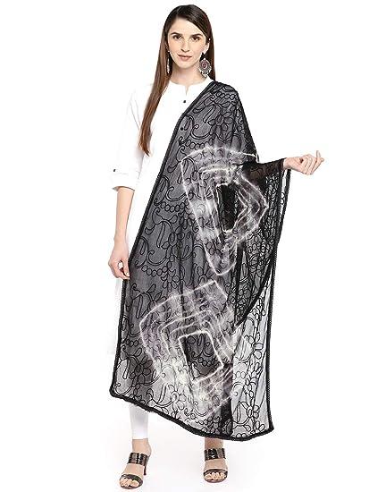 87f4ec8b3d Dupatta Bazaar Woman's Black & White Embroidered Chiffon Dupatta:  Amazon.ca: Clothing & Accessories