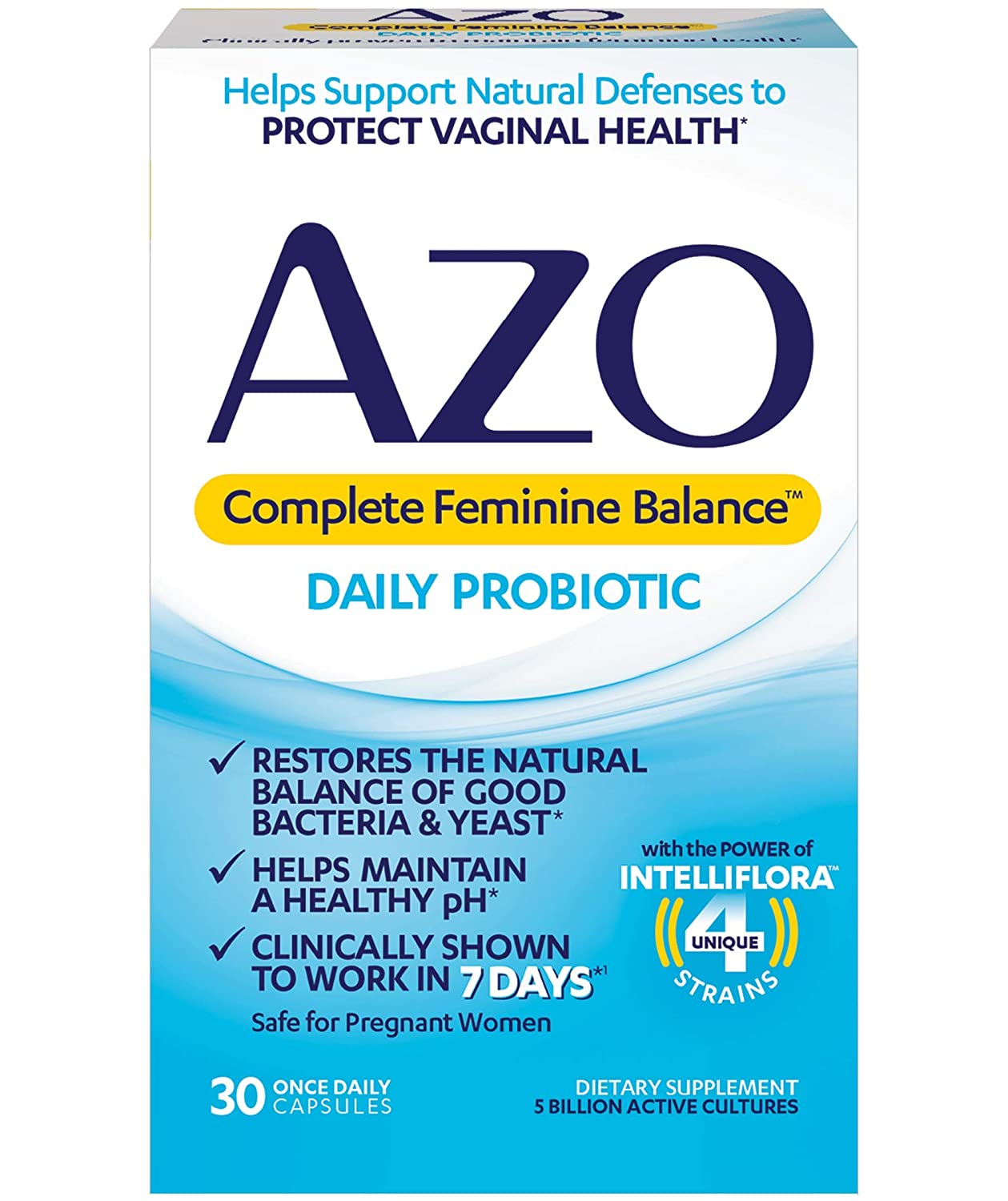 AZO Complete Feminine Balance Daily Probiotics for Women | 30 Count |  Clinically Proven to Help Protect