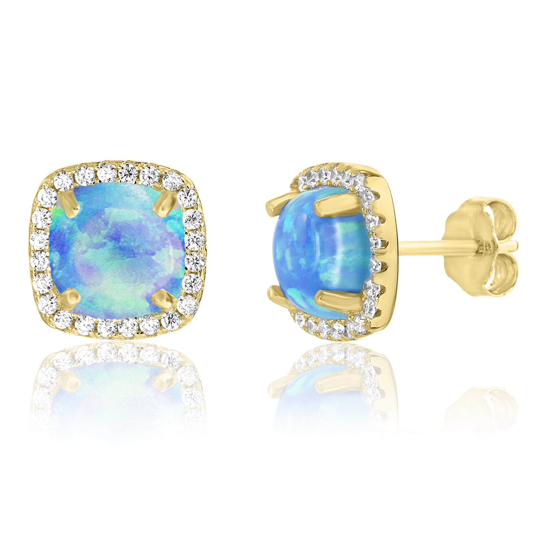 LESA MICHELE Lab Created Blue Opal and Genuine Cubic Zirconia Square Stud Earring in Gold over Sterling Silver