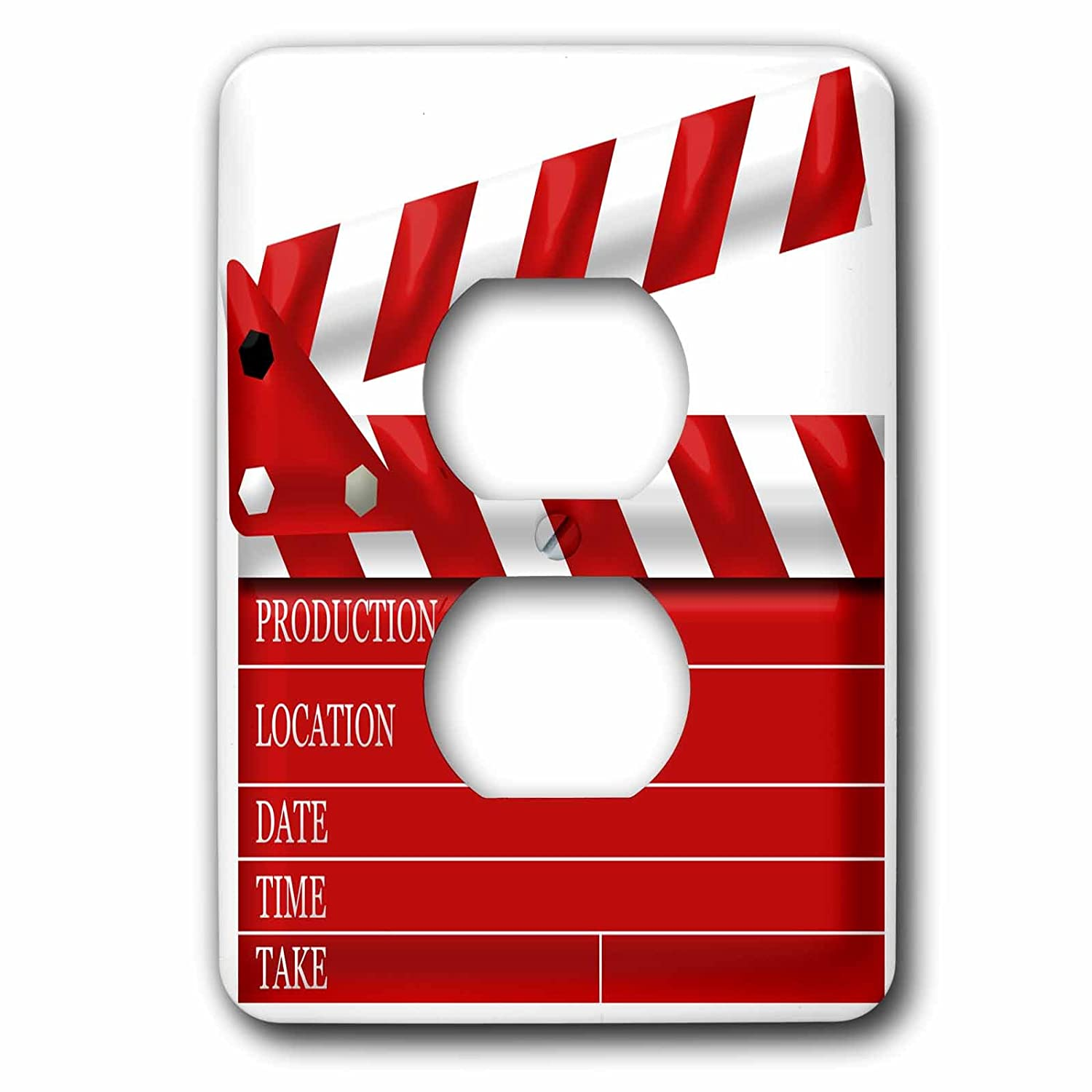 3dRose LSP_222696_6 Movie Clap Board Illustration in Red and White 2 Plug Outlet Cover