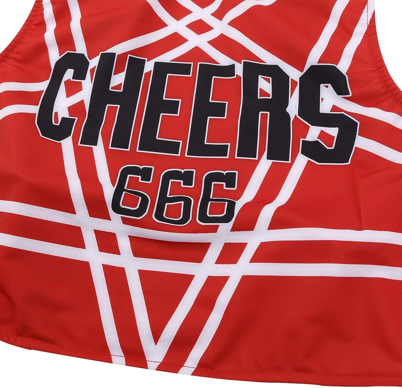 Freebily Uniforme da Cheer-Leader Costume Carnevale Ragazza Travestimenti Halloween Festa Fancy Dress per Scuola Superiore Crop Top Incrociata Schiena Mini Gonna a Pieghe
